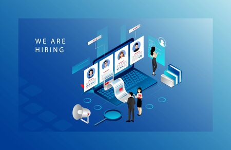 Isometric Recruitment Agency Concept. Tiny HR Specialists Choose Candidates For Job, Searching CV. Website Landing Page. Employers Searching For Professional Stuff. Web Page 3d Vector Illustration Illustration