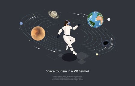 Isometric 3D Concept Of Space Tourism With VR Helmet Or Goggles. Astronaut Woman Trying On VR Gadget And Playing Virtual Reality Game, Flying Among Planets In Open Space. Cartoon Vector Illustration. Illustration