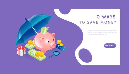 Isometric Money Protection. Website Landing Page. Piggy Bank With Gold Coins, Credit Card, Gift Box, Dollar Banknotes And Ubmrella Like A Shield. Web Page Cartoon Linear Outline Vector Illustration.