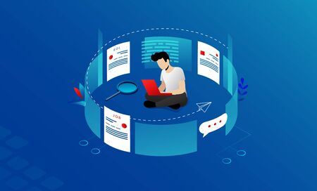 Concept Of Recruitment, Economic Crisis, Searching Job. Unemployed Man Sitting And Typing On Laptop. Male Character Sending CV And Looking For Job Online On The Internet. Cartoon Vector Illustration