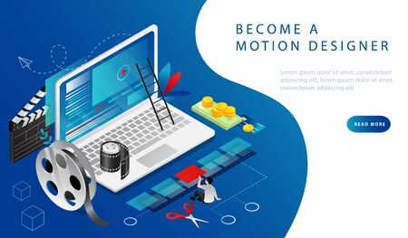 Isometric 3D Concept Of Video Editing, Video Production, Montage Courses. Man Shoot A Video, Then Edit It On Laptop With Computer Program Or Application And Monetize Job. Cartoon Vector Illustration