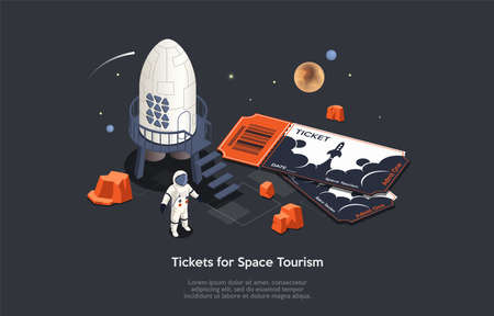Isometric 3D Concept Of Space Tourism. Astronaut Tourist With Big Tickets Near Space Ship Ready To Travel. Intergalactic Transportation of People And Trips On Vacations. Cartoon Vector Illustration