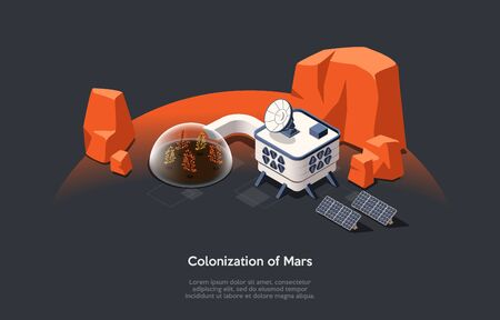 Isometric 3D Concept Of Mars Colonization Mission And Space Tourism. Futuristic Space Home, Garden Under Dome With Alternative Energy Sources. People Adaption On Mars. Cartoon Vector Illustration. Illustration