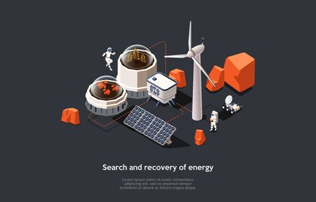 Isometric 3D Mars Colonization Mission Concept. Astronauts Searching For Energy Production And Provision Of Life In Space Using Modern Equipment. People Adaption On Mars. Cartoon Vector Illustration.