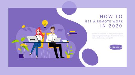 Concept Of Remote Work. Website Landing Page. Freelancers Boy And Girl Working From Coworking Space. Remote Work And Work From Anywhere. Web Page Cartoon Linear Outline Flat Style Vector Illustration.