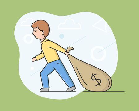 Business Investment And Bring Profit Concept. Young Businessman Is Pulling Bag Full Of Money. Successful Business Project Investment Income. Cartoon Linear Outline Flat Style. Vector Illustration