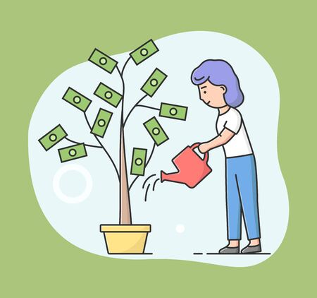 Concept Of Business Investment And Bring Profit. Young Businesswoman Is Watering Money Tree With Water. Successful Business Project Investment Income. Cartoon Linear Outline Flat Vector Illustration.