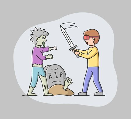 Concept Of Virtual Reality Playing Games. Young Man In Goggles Plays Real Time VR Game. Boy Imagine Himself By Knight And Fighting With Monster Zombie. Cartoon Linear Outline Flat Vector Illustration.