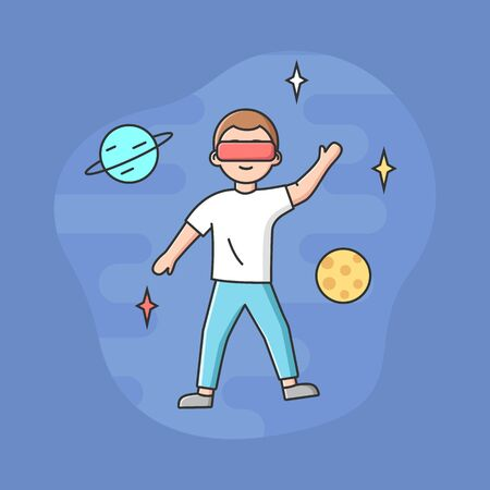 Concept Of Virtual Reality Playing Games. Young Man In Goggles Plays Real Time VR Game. Boy Imagine Himself By Astronomer And Fly Among Stars In Space. Cartoon Linear Outline Flat Vector Illustration.