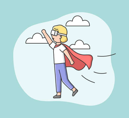 Virtual Reality Playing Games. Woman In Superhero Clothes Plays Real Time VR Game. Girl Imagines Herself By Superhero And Fly Among Stars In The Sky. Cartoon Linear Outline Flat Vector Illustration 向量圖像