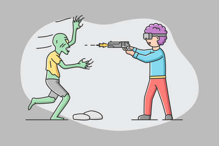 Concept Of Virtual Reality, Playing Games. Man In Goggles Plays Real Time VR Game. Boy Imagine Himself By Hero And Shooting A Gun At Monster Zombie. Cartoon Linear Outline Flat Vector Illustration Ilustração