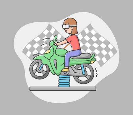 Concept Of Playing Virtual Reality Games. Woman In Goggles Plays Real Time VR Game. Girl Is Riding Motorbike Attraction Using Virtual Reality Goggles. Cartoon Linear Outline Flat Vector Illustration.