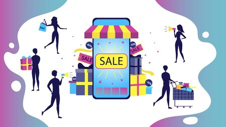 Concept Of Big Sale. People Silhouettes Men And Women Shopping Online. Big Smartphone With Sale Inscription And Tiny People Characters Buy Goods With Discount. Cartoon Flat Style. Vector Illustration. Illustration