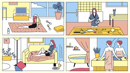 Concept Of Everyday Leisure And Work Activities Of Young Woman. Bundle Of Daily Life Scenes. Girl Is Exercising, Cooking Meal, Working On Laptop And Take Bathe. Cartoon Flat Vector Illustrations Set.