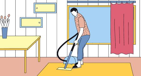 Cleaning Service Concept. Male Character With Vacuum Cleaner Clean Home Or Office. Cleaning Company Worker Doing Housework, Vacuuming Carpet. Linear Outline Cartoon Flat Style. Vector Illustration.