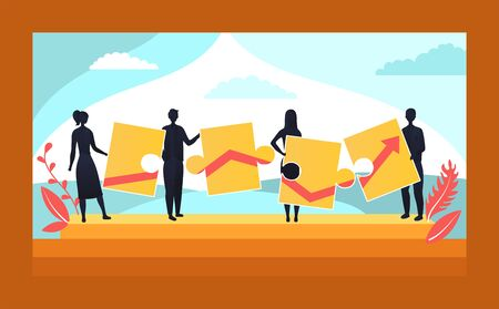 Business Teamwork Template Concept. Characters Connecting Puzzle Pieces. Creative Solutions, Collaboration and Partnership, Black Silhouettes Of Business People Hold Chart. Flat Vector illustration.