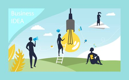 Creativity And Brainstorm Concept. Creative Male And Female Silhouettes Of Characters Work On, Develop New Project. Metaphor With Bulb Like New Idea. Cartoon Linear Outline Flat Vector Illustration.