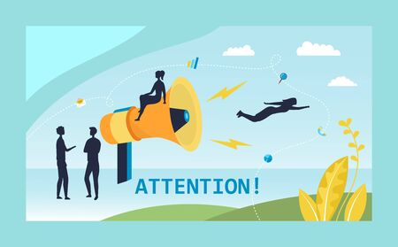 Attention message From Big Loudspeaker, Refer A Friend, Social Media Marketing Concept. Tiny People Character Black Silhouettes Near Big Megaphone With Infographic. Flat style. Vector illustration. Illustration