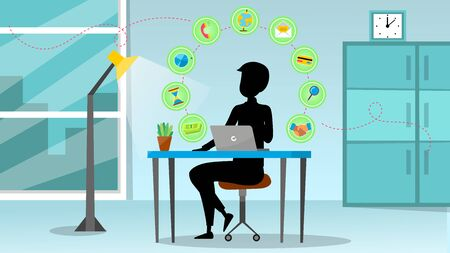 Concept Of Creativity, Success. Silhouette Of Businessman With Business Icons Around Him In The Air In Office. Man Is Working On Laptop On New Project. Cartoon Linear Outline Flat Vector Illustration.