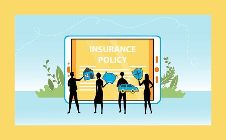 Concept Of Insurance Policy. Characters Silhouettes Near Big Tablet Insure Movable And Real Estate Property. Online Insurance For House, Vehicle, Savings And Life. Cartoon Flat Vector Illustration.