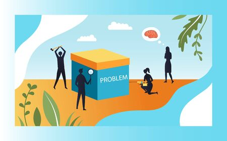 Concept Of Creativity And Problem Solutions. Group Of People Silhouettes Try To Solve Business Or Life Problem. Metaphor Of Complexity In Shape Of Big Box. Cartoon Flat Style. Vector Illustration. Illustration