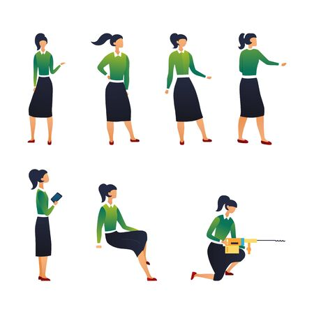 Creativity And Teamwork Concept. Collection of Businesswoman In Different Poses. Set Of Scenes With Female Character. Office Worker Girl in Various Situations. Cartoon Flat Style. Vector Illustration. Иллюстрация