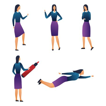 Creativity, Presentation, Working, Big Idea And Teamwork. Collection of Businesswoman In Different Poses. Set Of Scenes With Female Character in Various Situations. Cartoon Flat Vector Illustration.