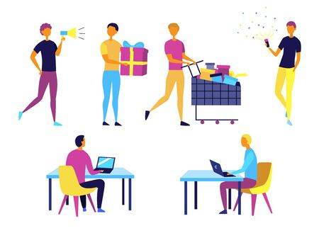 Concept Of Self Employed People. Characters Do Shopping, Give Presents, Work And Having Fun. Collection Of People In Different Situations And Period Of Time. Cartoon Flat Style. Vector Illustration.