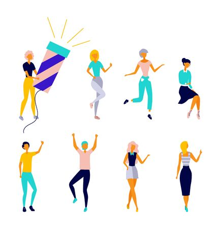 Set of Dancing People Having Fun Together. Collection of Female Characters in Colorful Clothing Enjoying Dance Party. Set Of Girls In Different Situations. Cartoon Flat Style. Vector Illustration