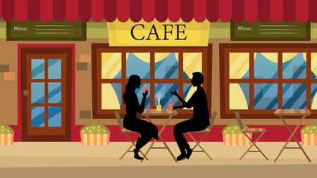 Concept Of Romantic Date. Couple In Love Man And Woman In A Urban Cafe. Characters Sitting At The Table, Talking And Having Fun. Dialog Between Romantic Partners. Cartoon Flat Vector Illustration. Illustration