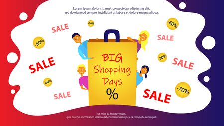 Big Sale Concept. Men And Women Shopping Online On Sale. Characters Looking Out From Behind Of Big Bag With Big Shopping Days Inscription. Infographic With Discounts. Cartoon Flat Vector Illustration Illustration