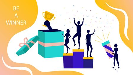 Trophy Elements And Giving Gifts Concept. People Silhouettes On Winner Podium With Hand Holding Cup, Award Winning Pedestal And Confetti On Abstract Background. Cartoon Flat Style Vector Illustration