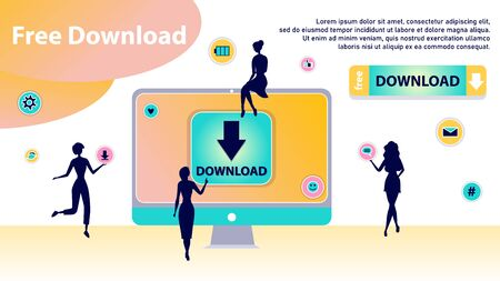 Free Download Concept. Characters Silhouettes Around of Huge Computer Transfering and Sharing Files, Using Torrent Servers Services. Online Media Shopping, People Lifestyle. Flat Vector Illustration Vectores