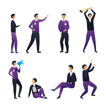 Concept Of Leadership, Creativity And Teamwork. Collection of Business People In Different Poses. Set Of Scenes With Characters. Office Workers in Various Situations. Cartoon Flat Vector Illustration