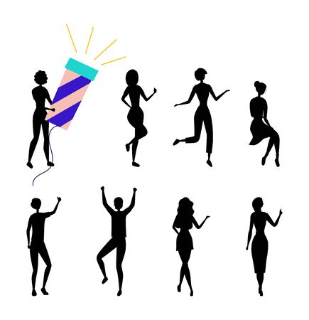 Dancing People Silhouettes Having Fun Together. Female Characters Collection in Colorful Clothing Enjoying Dance Party. Set Of Girls In Different Dance Poses. Cartoon Flat Style. Vector Illustration Illustration