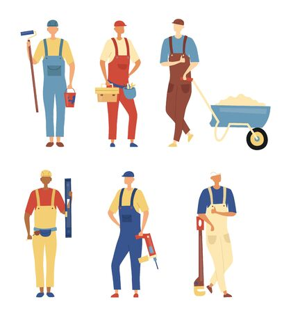 Renovation And Construction Concept. Set of Construction Engineers and Builders in Robe with Building Equipment Tools. Characters Standing In A Row Together. Cartoon Flat Style. Vector Illustration.