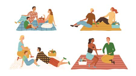 Family Time Concept. People Have Picnic. Characters Have Fun, Relax, Eat, Enjoy Free Time, Communicating To Each Other. Set Of Families On Vacations Together. Cartoon Flat Style Vector illustration.