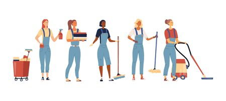 Cleaning Service Concept. Set Of Women In Uniform With Professional Tools For Cleaning And Wash. Multi Purpose Janitorial Cleaning Service. Cleaning Company Workers. Cartoon Flat Vector Illustration.