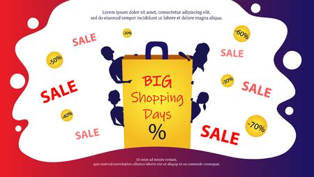 Men And Women Silhouettes Shopping Online On Big Sale. Characters Looking Out From Behind Of Big Bag With Big Shopping Days Inscription. Infographic With Discounts. Cartoon Flat Vector Illustration. Illustration