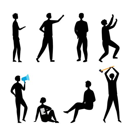 Leadership, HR, Teamwork Concept. Collection of Business People Silhouettes In Different Poses. Set Of Scenes With Characters. Office Workers in Various Situations. Cartoon Flat Vector Illustration