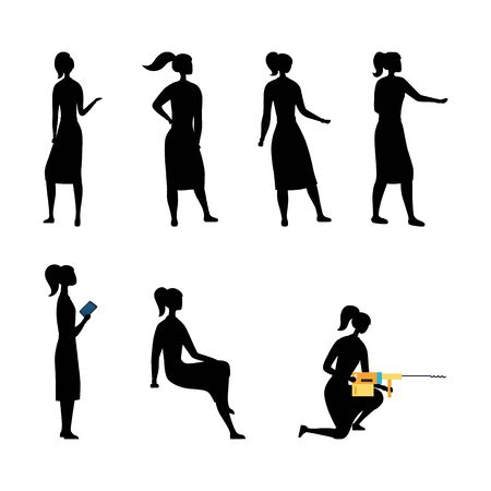 Creativity And Leadership Collection of Businesswoman Silhouettes In Different Poses. Set Of Scenes With Female Character. Office Worker Girl in Various Situations. Cartoon Flat Vector Illustration. Illustration