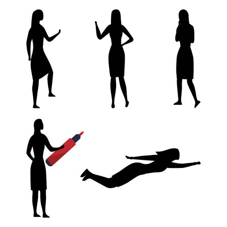 Creativity, Working, Big Idea And Leadership. Collection of Businesswoman Silhouettes In Different Poses. Set Of Scenes With Female Character in Various Situations. Cartoon Flat Vector Illustration. Illustration