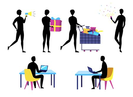 Concept Of Self Employed Business People Silhouettes. Characters Do Shopping, Give Presents, Work And Having Fun. Collection Of People In Different Situations. Cartoon Flat Style. Vector Illustration.