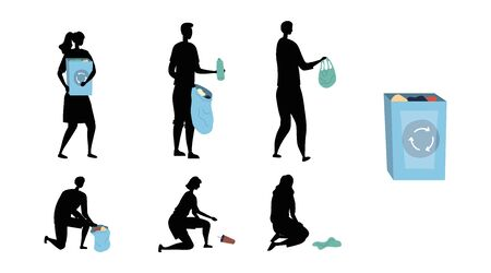 Zero Waste, Recycling And Save Planet. Volunteers Clean Street Of Trash And Put It Into Container. Men And Women Silhouettes Pick Up And Sorting Trash. Cartoon Linear Outline Flat Vector Illustration Stock Illustratie