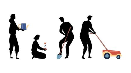 Gardening Concept. Silhouettes Of Men And Women Gardening, Mowing Lawn, Planting And Watering Flowers. Group Of People Is Working Outdoors With Professional Tools. Cartoon Flat Vector Illustration