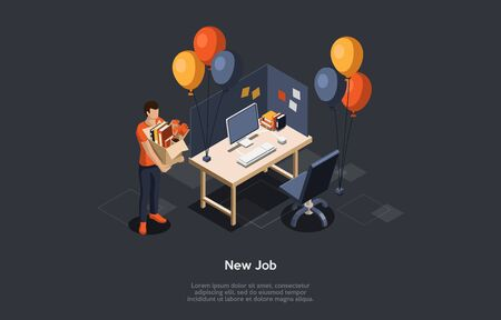 Concept Of Job Interview And Human Resources. Man Has Found New Job And Became Hired. Character Holding Cardboard Box With Office Items To Settled Down New Workplace. Isometric 3D Vector Illustration.