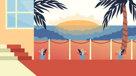 Concept Of Summer Vacations. Beautiful Sunset View Of Modern Villa With Palms On The Beach. Sea Shore Beach With Villa Hotel Beautiful Sunset Seaside Landscape. Cartoon Flat Style Vector Illustration