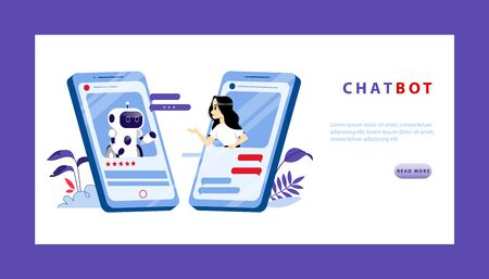 Artificial Intelligence And Smart Technologies Of Future Concept. Young Woman Make Conversation With Chatbot From Smartphone Screen. Website Landing Page. Web Page Isometric 3D Vector illustration