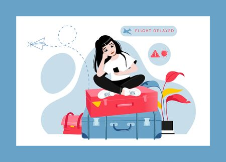 Concept Of Flight Delay or Cancel, Change Of Plans. Tired, Perplexed and Upset Of Flight Delay Girl Sitting On Luggage And Waiting For Departure At Airport. Cartoon Flat Style. Vector Illustration 矢量图像