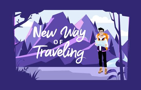 Weekend Adventure, Hiking And Camping Concept. Male Character Tourist With Backpack Looking At Map And Planning A Route. Male Character Going Hike On Mountains. Cartoon Flat Style Vector Illustration.
